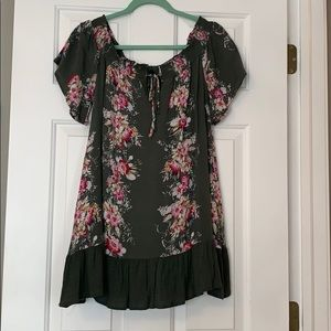 Rue 21 Olive green floral dress